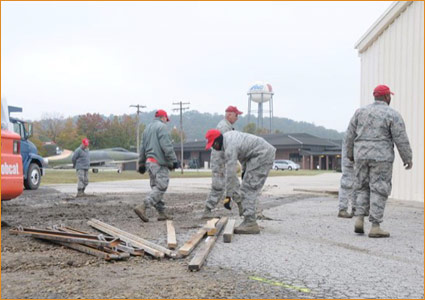Concrete parking lot construction at Ebbing National Guard Base